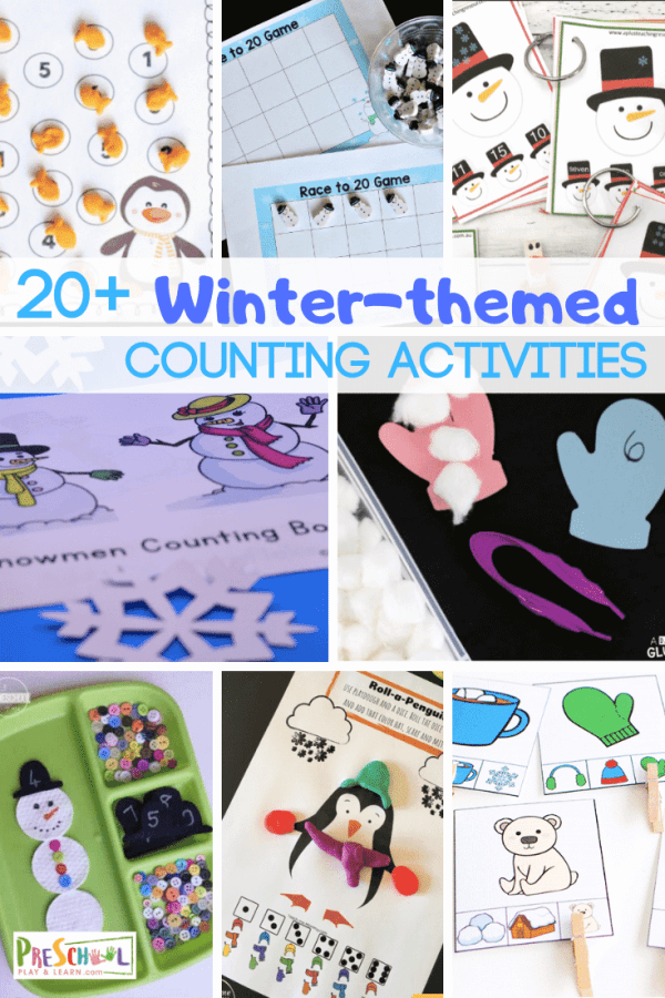 Counting Winter Activities for Preschoolers - so many fun winter themed math activities for prek and preschool age kids #preschool #prek #counting