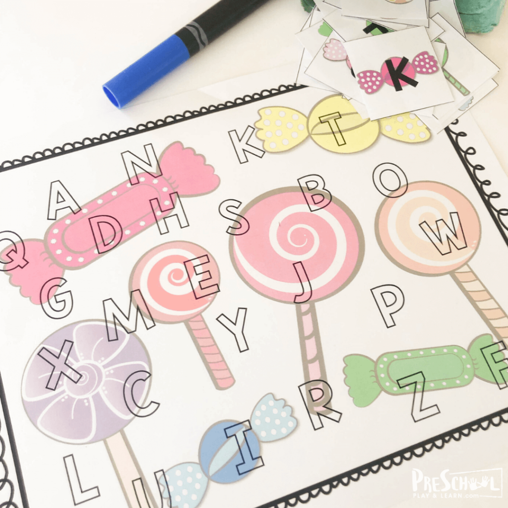 easy, low prep letter recogition activity for preschoolers and kindergartners and toddlers