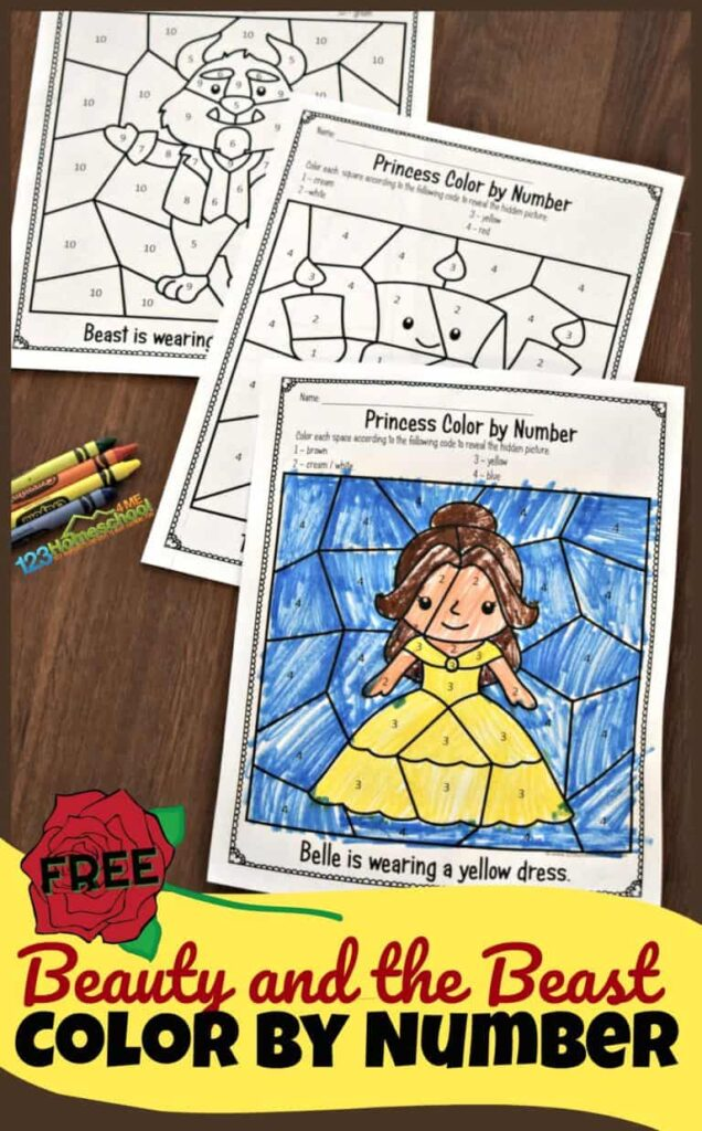 beautfy and the beast color by number worksheets