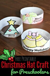 FREE Printable Christmas Hat Craft for Preschoolers - simple Christmas craft for toddler, prek, and kindergarten age kids #christmas #craftsforkids #preschool