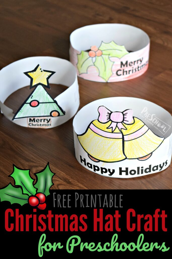 FREE Printable Christmas Hat Craft for Preschoolers - simple Christmas craft for toddler, prek, and kindergarten age kids #christmas #craftsforkids #preschool