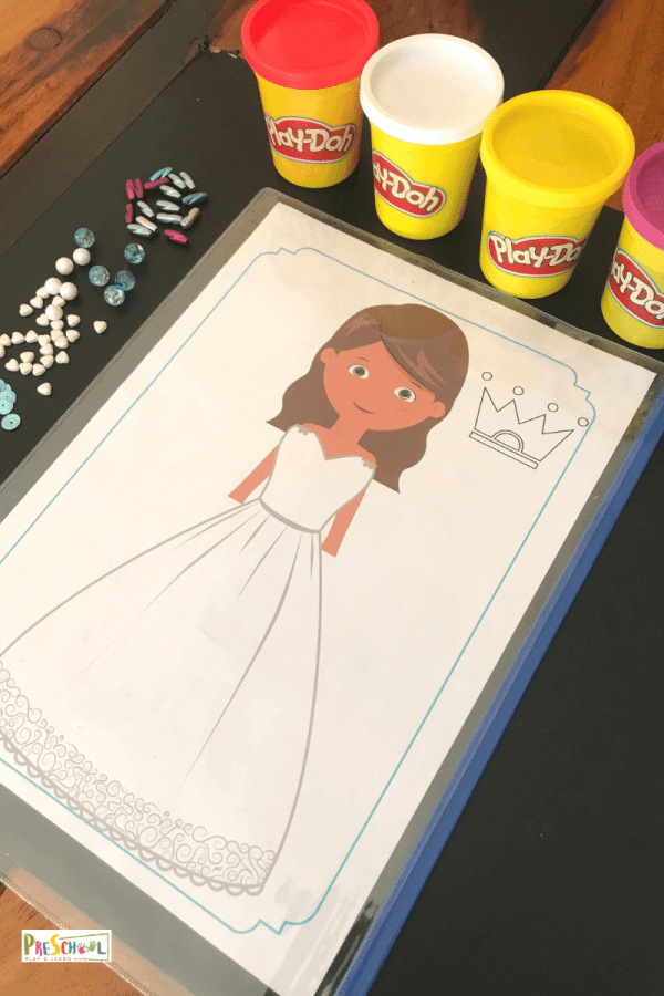This fun preschool activity allows kids to decorate their own princess play doh using a free princess page