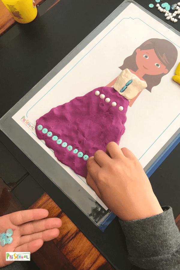 free preschool printable princess playdough mats to help kids work on strengthening hand muscles, improving finde motor skills, and using creativity