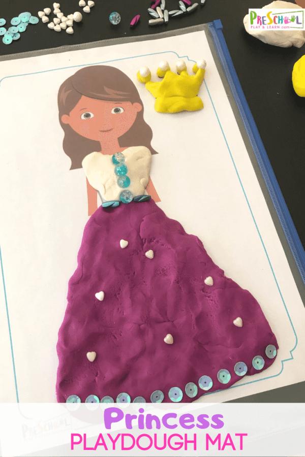 FREE Princess Playdough Mats -super cute, hands on playdough activity for toddler, preschool, prek, and kindergarten age kid! #playdough #playdoh #princessprintable