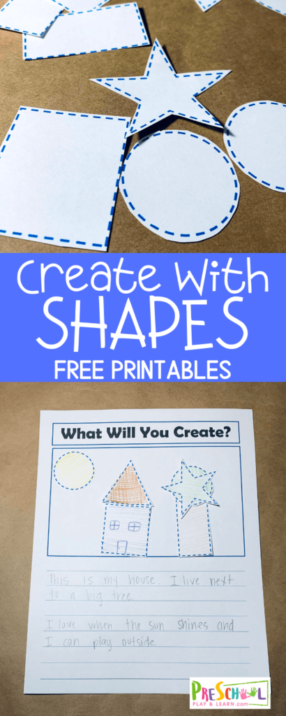 FREE Create with Shapes Printable - kids will have fun using these shape worksheets to create picture and practice writing too! #shapes #preschool #freeprintables