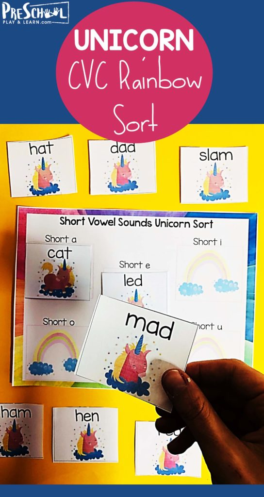 Make learning fun with this whimsical, FREE Printable Unicorn Short Vowels Activity perfect for prek and kindergarten age kids. #unicornprintable #shortvowels #cvcwords #prek