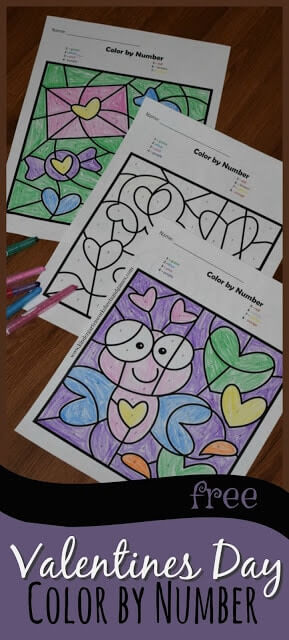 Valentines Day Color by Number Worksheets