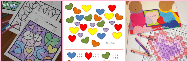 Valentines Day Math pritnables for preschool and prek