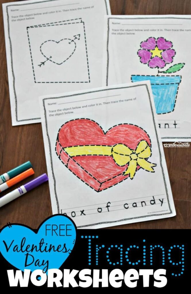 Free Valentines Day Tracing Pages