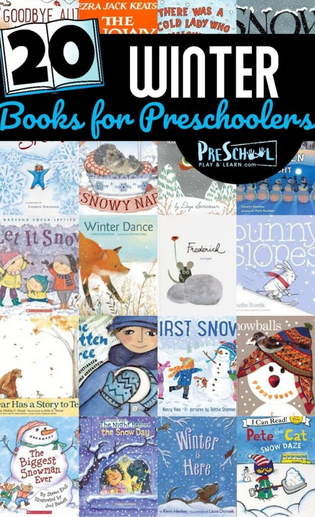 Snuggle up with these 20 Winter Books for Preschoolers that will delight, amuse, and teach kids of all ages during December, January, and February. From themes with snow, snowmen, animals in winter, cold lady who swallowed, and more toddler, preschool, pre-k, kindergarten, and first grade students will love reading these winter picture books for children!