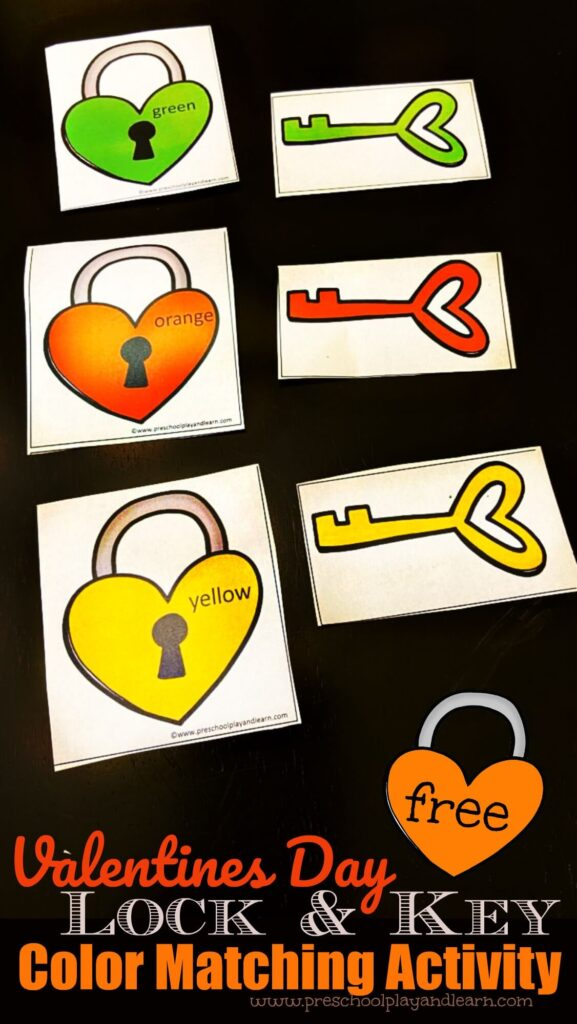 FREE Valentines Day Lock & Key Color Matching Activity - this free printable is a fun way for toddler, preschool, and prek age children to learn colors whie having fun with a Valentines Day theme perfect for February #colors #preschool #freeprintable #valentinesday