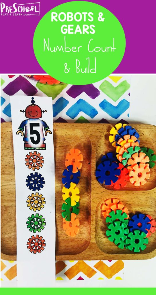 Kids will have fun practicing counting to 20 with this super cute and clever  counting activities. Use our free printable pattern cards with a fun robot theme for toddler, preschool, pre k, and kindergarten age children. This number count is a fun way to learn to count to 20 plus work on visual discrimination, patterns, and color recognition too!