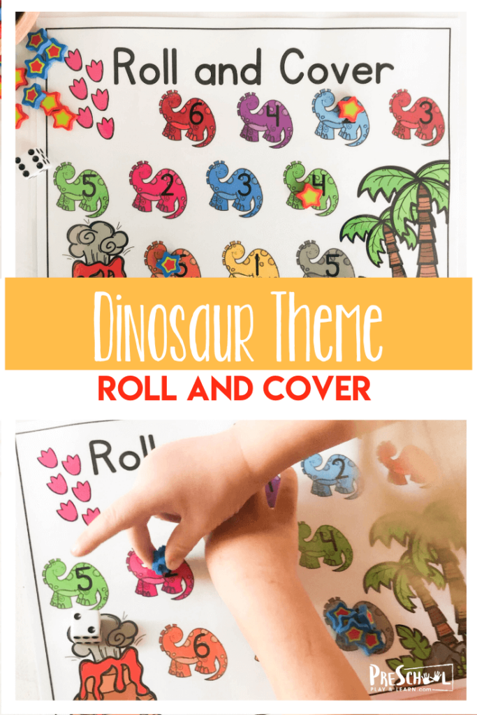 FREE Dinosaur Number Recognition Games - kids will have fun practicing counting and number sense with this super cute, low prep dinosaur printable math activity for preschoolers #dinosaurprintable #preschoolmath #counting