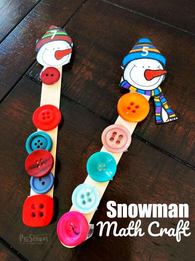 Snowman Math Activity for Preschool - super cute snowman math craft to help toddlers, preschoolers, and kindergartners practice counting to 10 on its own or as part of snowman theme or winter theme #snowman #mathactivity #snowmancraft #preschool