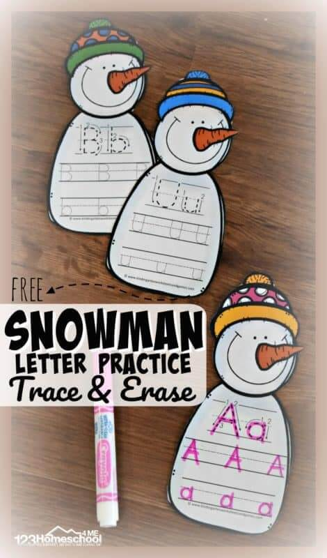 Snowman alphabet letter practice for preschoolers and kindergartners