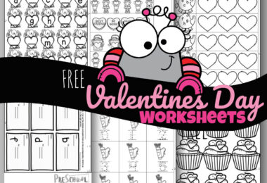 FREE Valentine Worksheets for prek and kinders perfect for extra seat work, February homework, or Valentine's Day centers