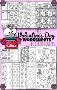 FREE Valentines Day Worksheets - these super cute free printables for preschool and kindergarten age kids help them practice counting, number recognition, alphabet letter, tracing upper and lowercase letters, patterns, graphing, phonemic awareness, colors, shapes, and so much more with NO PREP worksheets for preschoolers and kindergartners perfect for February #valentinesday #valentineprintables #preschool #kindergarten