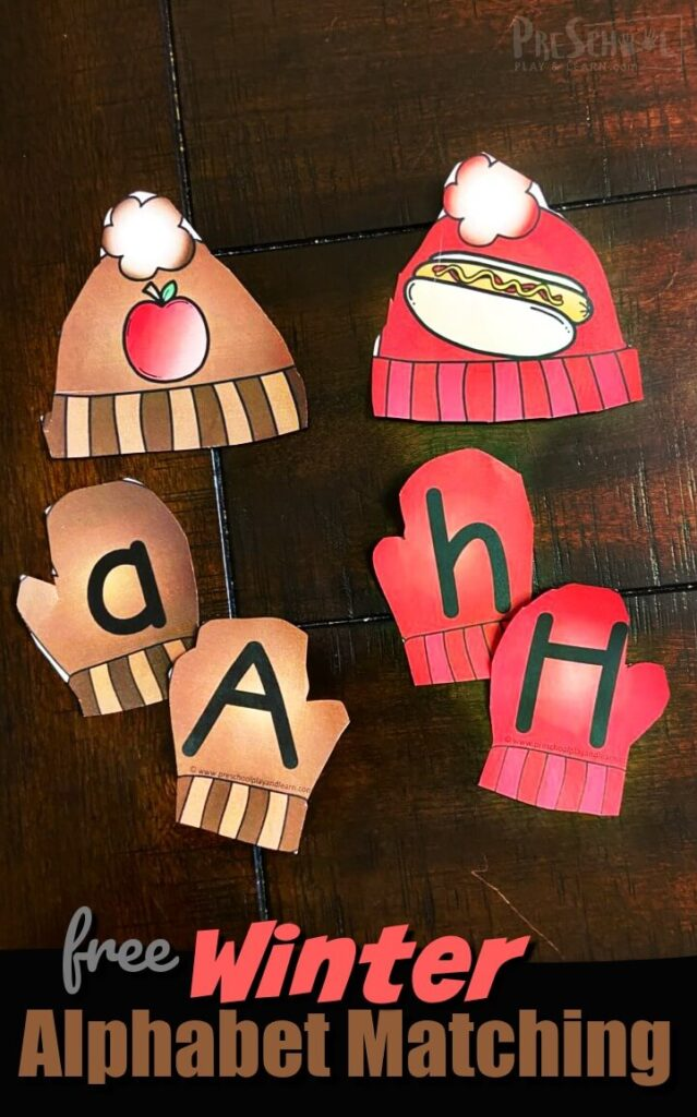 FREE Winter themed Alphabet Matching - this educational winter activity for preschool and kindergarten age kids working on matching upper and lowercase letters and practicing matching beginning sounds #beginningsounds #winterprintables 3prek
