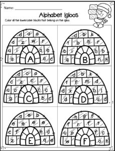 Alphabet Igloos Worksheet allows kids to practice letter recognition of upper and lowercase letters