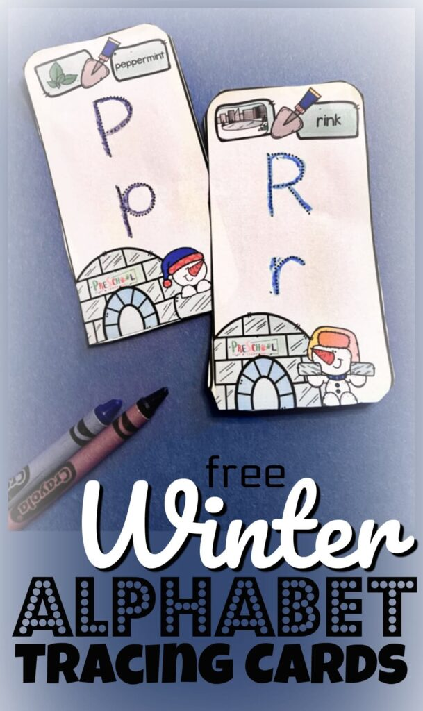FREE Winter Alphabet Tracing Cards - preschool and kindergarten age kids will have fun practicing tracing upper and lowercase letters whiel learning about letter sounds, beginning sounds of words, and an introduction to phonemic awareness with these free pritnable, educational activity perfect for January #alphabet #preschool #winterprintable #education