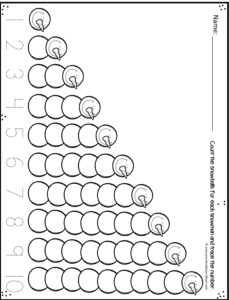 Counting snowman worksheet for prek is great for seeing how numbers grow