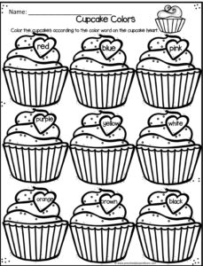 cupcake colors preschool worksheets