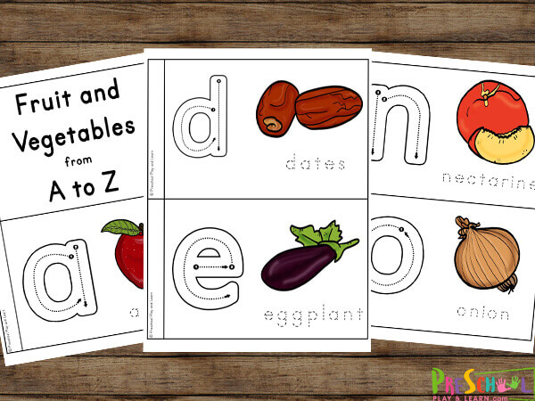 FREE Fruit And Vegetable Printables A-Z - ABC Reader For Preschoolers