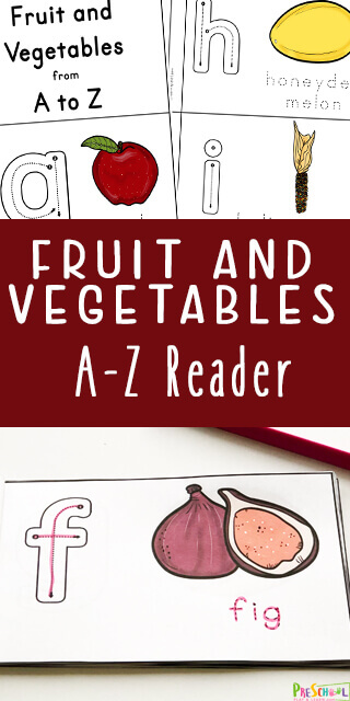 Kids will have fun increasing vocabulary and practing their abcs with this FREE Printable Fruit and Vegetable A-Z Reader for prek and kindergarten. #alphabet #emergentreader #preschool #prek #kindergarten