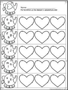 heart alphabetical order practice for preschoolers