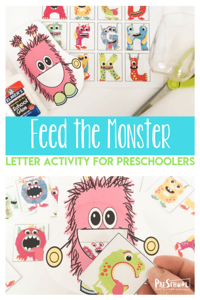 FREE Feed the Monster Letter Activity - this fun alphabet letter recognition activity is a fun, hands on educational activity for preschool, prek, toddler, and kindergarten age kids with a fun monster pritnable #monstertheme #alphabet #preschool #prek
