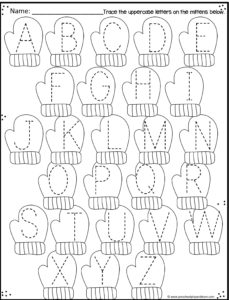 mitten worksheet to practice tracing uppercase letters
