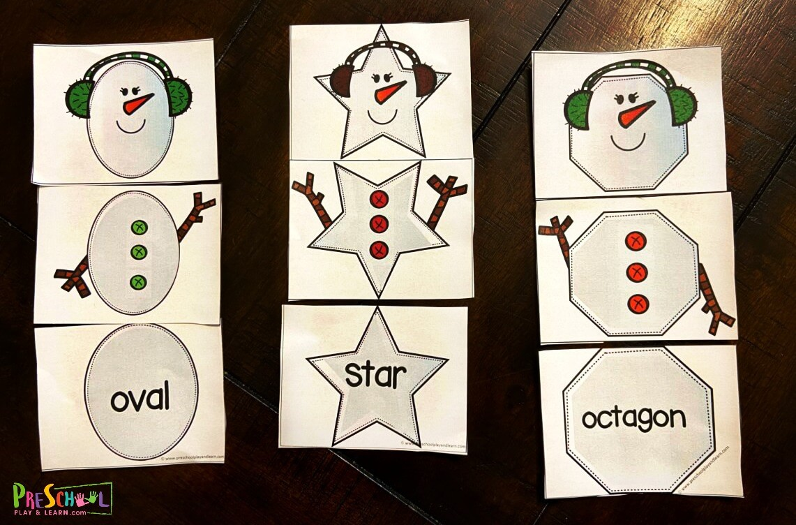 snowman preschool shapes