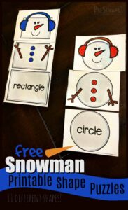 FREE Snowman Printable Shape Puzzles - this fun winter theme shape activity is perfect for preschool and kindergarten age kids to learn to identify shapes for kids and learn their names. #shapes #preschoolmath #snowmanprintable #education