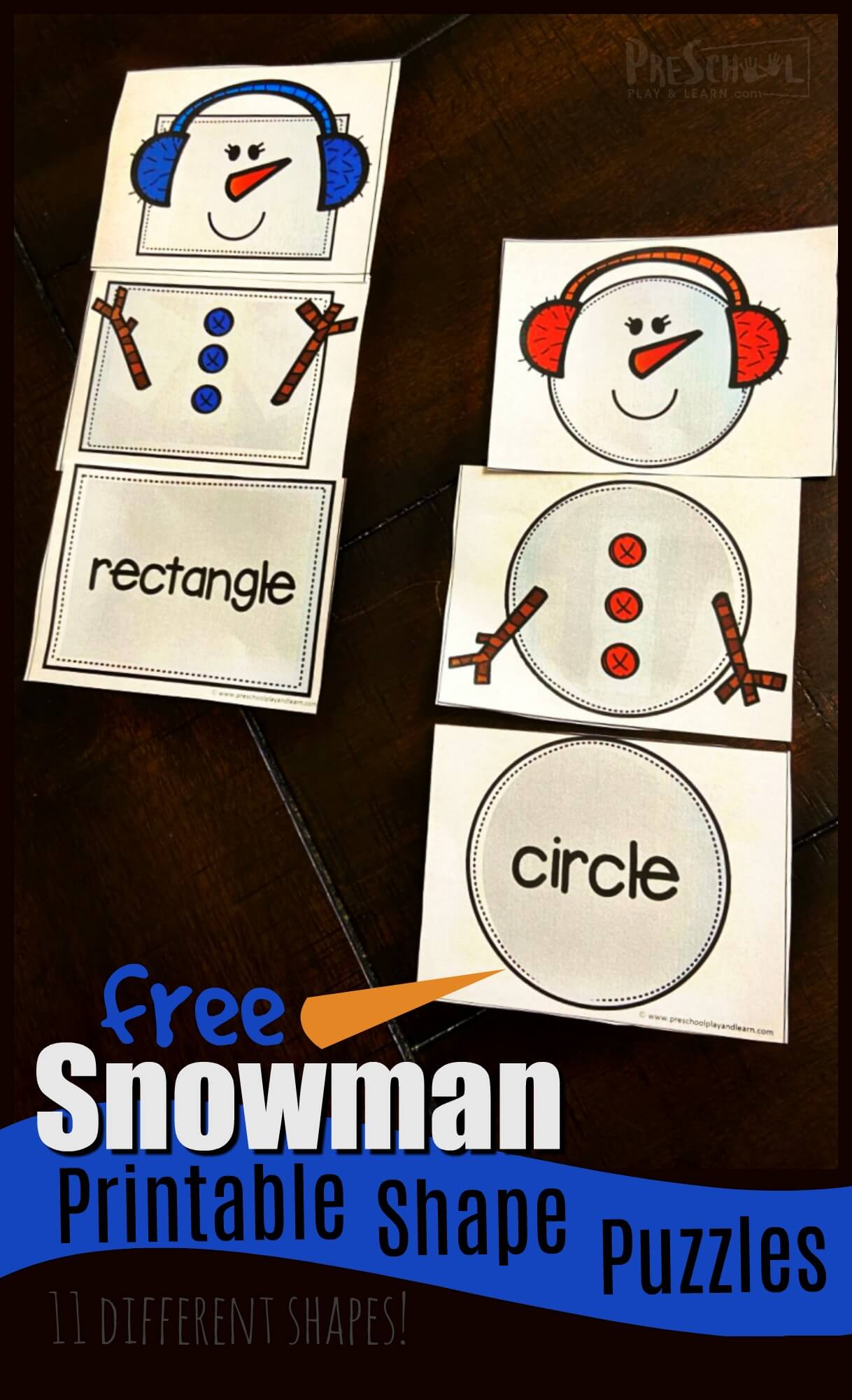 Do you want to build a snowman printable makes practicing shape recognition fun for toddler, preschool, pre-k, and kindergarten age children.  Use these super cute, 3-part shape puzzles to match 11 common shapes to make these happy snowman friends. Simply download pdf file with free printable Snowman Printables and you are ready for a hands-on winter math activities for preschoolers.