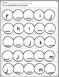snowball worksheet to work on what letter is missing