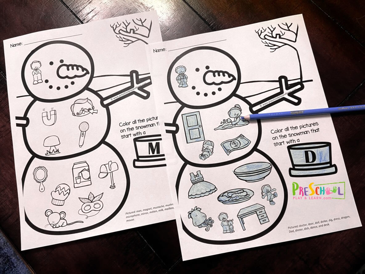 snowman coloring sheets for preschoolers and kindergartners learning vocabulary