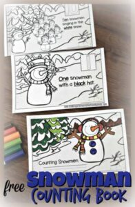Free Printable Snowman Emergent reader to practice counting to 10