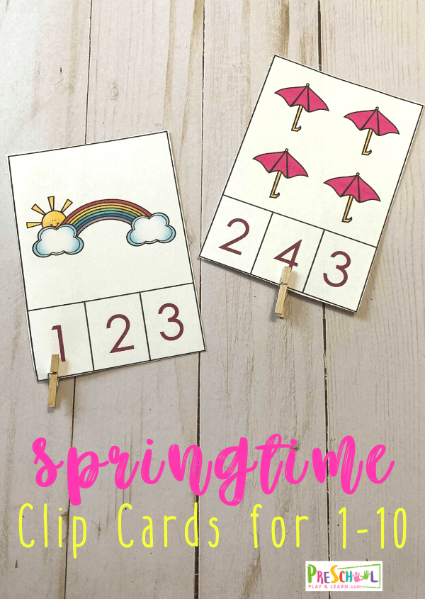 Make practicing counting to 10 fun with these super cute, FREE Spring Counting Clip Cards for toddler, preschool, and kindergartners. #counting #springpritnables #prek #kindergarten #preschoolmath