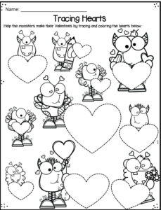 tracing hearts coloring pages