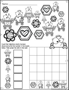 valentine's day math worksheets to practice counting and graphing