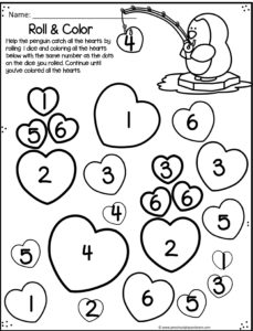 valentiens day number recognition sheets