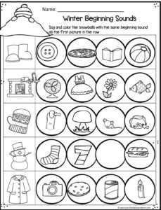 winter beginning sounds worksheet to practice phoincs with preschool and kindergarten age kids