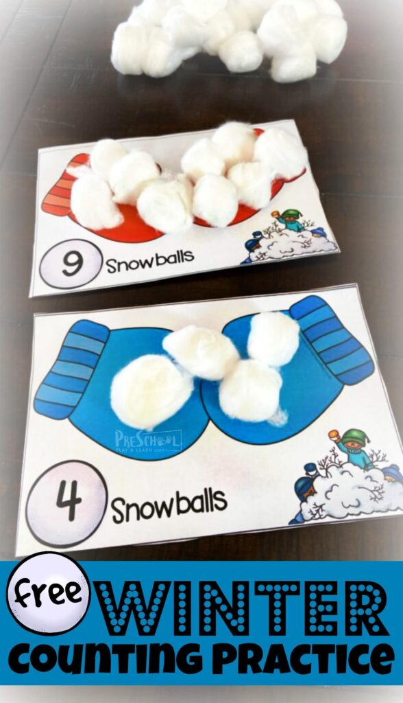 FREE Winter Counting Practice - Young learners will have fun practicing counting to 10 with this super cute, free printable, winter Counting Activity using cotton ball snowballs. Download pdf file with Winter printables and grab some cotton snow balls and you are ready to count to 10 with your toddler, preschool, pre-k, and kindergarten age child. This is such a fun winter themed winter activities for preschoolers!