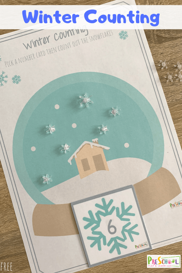 Looking for a fun, free winter math activities for preschoolers? You will love this FREE Pritnable Winter Counting activity for kids. #wintermath #countingactivity #mathprintable #preschool