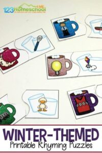FREE printable witner rhyming puzzles with hot cooca and marshmallows