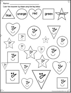 Winter Shape Worksheets to practice triangle, circle, heart, square and star shapes