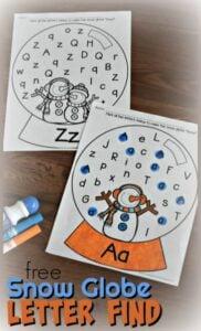 Snow Globe Letter Find Worksheets for Preschool and Kindergarten age kids
