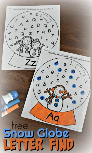 Snow Globe Letter Find Worksheets for Preschool and Kindergarten age kids