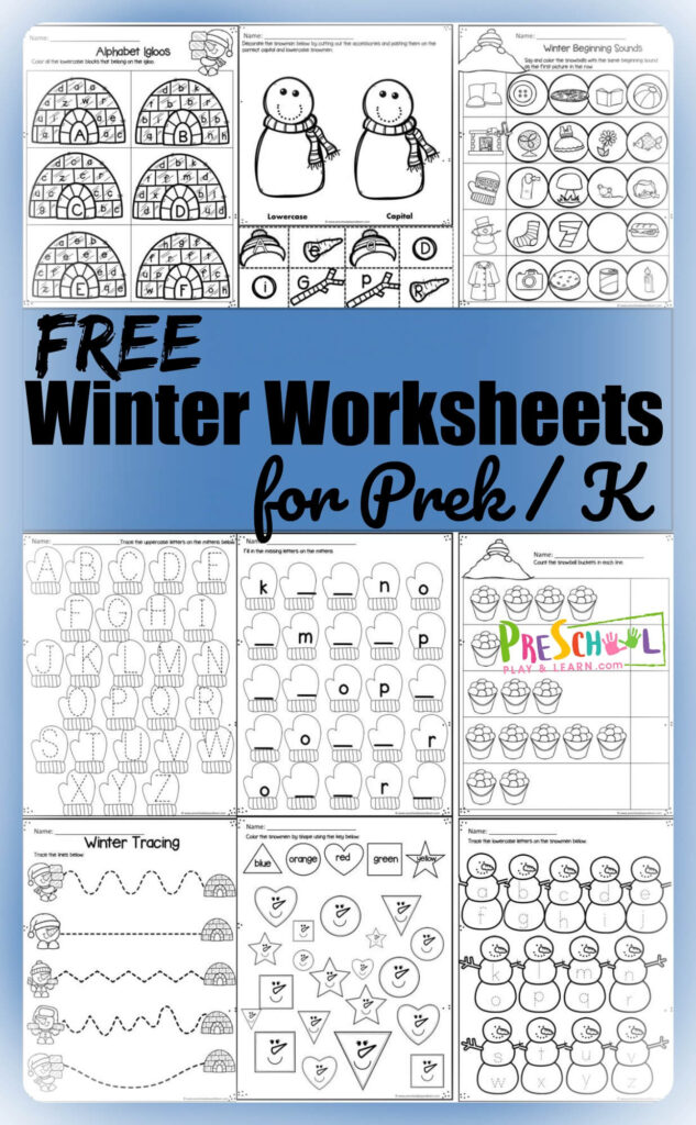 FREE Winter Worksheets - no prep, super cute worksheets for kids to practice alphabet letters, counting, shapes, colors, patterns, and more with prek and kindergarten age kids #prek #worksheetsforkids #winterlearning
