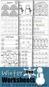 FREE Winter Worksheets for preschoolers - kids will have fun practicing counting, tracing letters, matching uppercase and lower case letters, and more with these super cute snowman, snowflake, snowball, igloo themed toddler, perschool and kindergarten age worksheets to make learning fun.